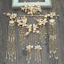 Çin gelin headdress adım sallamak püskül tiara takım çin düğün phoenix başlığı cornote