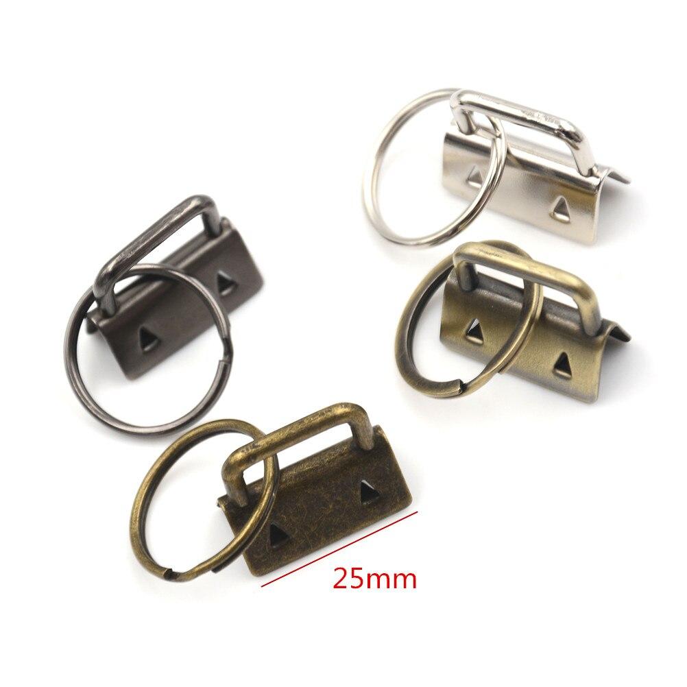 10Pcs Gold / Black / Silver / Bronze 25mm Key Fob Hardware Split Ring For Wrist Wristlets Cotton Tail Clip