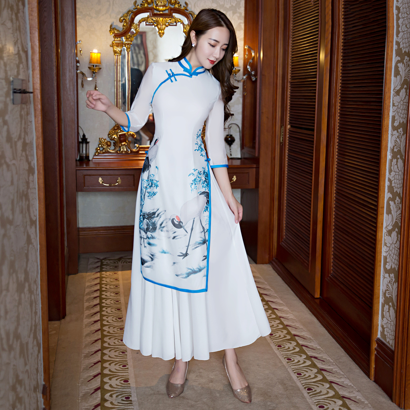 style Robe Xxxl Style Nouveauté L Satin 2 Cheongsam Rayonne M Chinois style Qipao 1 Robes Été Xxl 3 Dames Long Mince 27607a Xl Élégant À Taille S gHpqPp