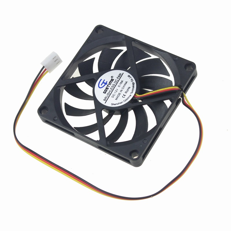 Gdstime 2pcs CPU Cooler 80mm 8CM 3Pin 12V DC Brushless Silent Computer PC Case Cooling Fan 80x80x10mm 1 piece gdstime 3pin dc fan 80mm 80x80x10mm 8cm 12v pc computer cpu cooler cooling fan 3 wire fg 8010 mute cooler high quality