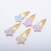 Small Size  Glitter Star Girls Hairclips 5pcs/lot Birthday Gift Baby Girls Hair Accessories Kids  Hair Clip For Children