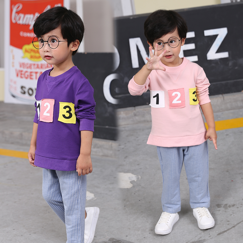 Boy clothes Spring and Autumn Boy T-shirt Pants Set Cotton girls clothes digital printing casual loose style suit for baby boy new hot sale 2016 korean style boy autumn and spring baby boy short sleeve t shirt children fashion tees t shirt ages
