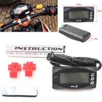 Universal White Motorcycle 12V LED Digital Thermometer Voltmeter Water Time Gauge Meter