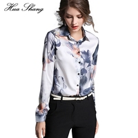 Women Tops And Blouses 2017 New Fashion Women Long Sleeve Floral Print Work Wear Office Shirts Plus Size Women Chiffon Blouse