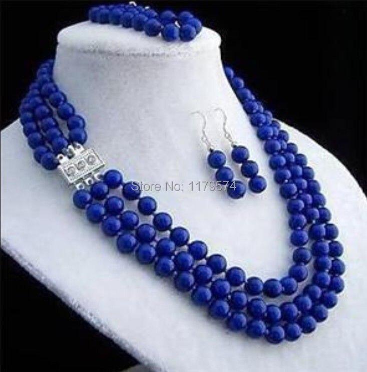 Hot 8mm 3rows Lapis jewelry fashion shopping girl Lazuli necklace bracelet earring sets Fashion Jewelry Making Design AAA ZH0250