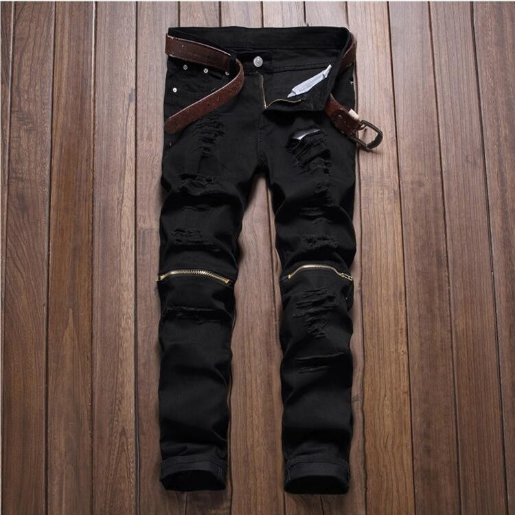 AILOOGR 2016 Skinny jeans men White Ripped jeans for men Fashion Casual Slim fit Biker jeans Hip hop Denim pants Motorcycle