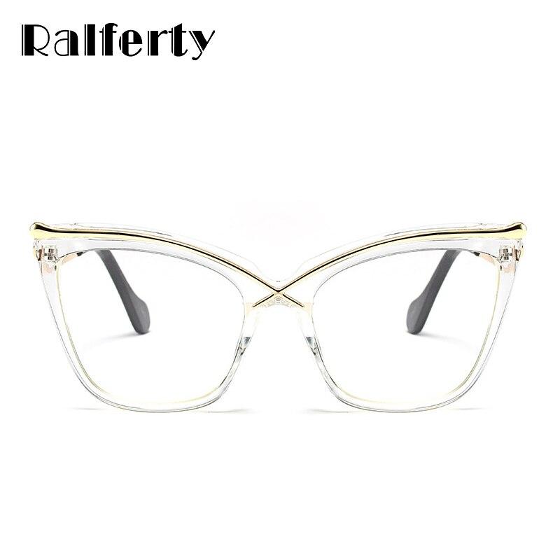 ea7aece4f6 Ralferty Oversized Cat Eye Glasses Transparent Frame Women Retro Big Optical  Eyeglasses Frames Clear Eyewear Accessories F92107-in Eyewear Frames from  ...