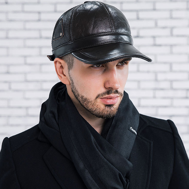 2018 New Brand Men's   Baseball     Cap   Middle Aged Protect Ear Triangular Rivet Cowhide Leather Dad Autumn Winter Casquette Bone