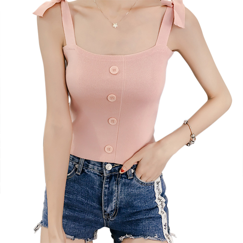 EFINNY Sexy Stretchable Knit Crop Cami Women 2018 Tank Tops Women Summer Sleeveless Crop Top Elastic Tube Knit Tank