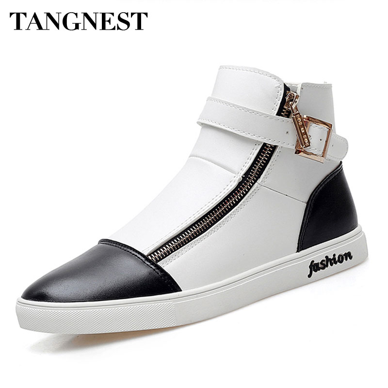Tangnest 2017 Autumn New Men High Top Shoes Fashion Side Zipper Men's Ankle Boots Pu Leather Casual Buckle Shoes Man XMR2119