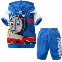 Высокое качество 2 шт. комплект одежды для мальчиков Томас и друзья одежда Для детей, на лето короткий рукав толстовка пижамы + Брюки для дево...