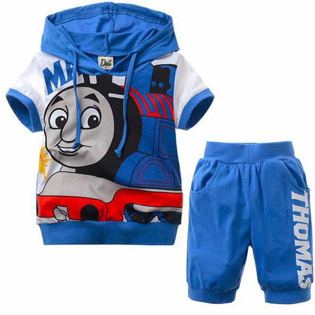 High Quality 2pcs Boys Clothing Set Thomas And Friends Clothes Kids Summer Short Sleeve hoodie pajamas  + Pants