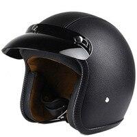 Black Leather Motorcycle Helmet Retro Vintage Cruiser Chopper Scooter Cafe Racer Moto Helmet 3/4 Open Face Helmet DOT