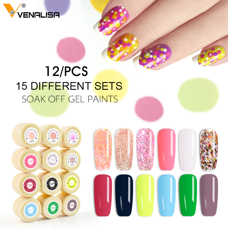 2019 Venalisa nail art tipps design professionelle nagel kosmetische maniküre 60 farben uv led tränken off farbe nagellack lack gele