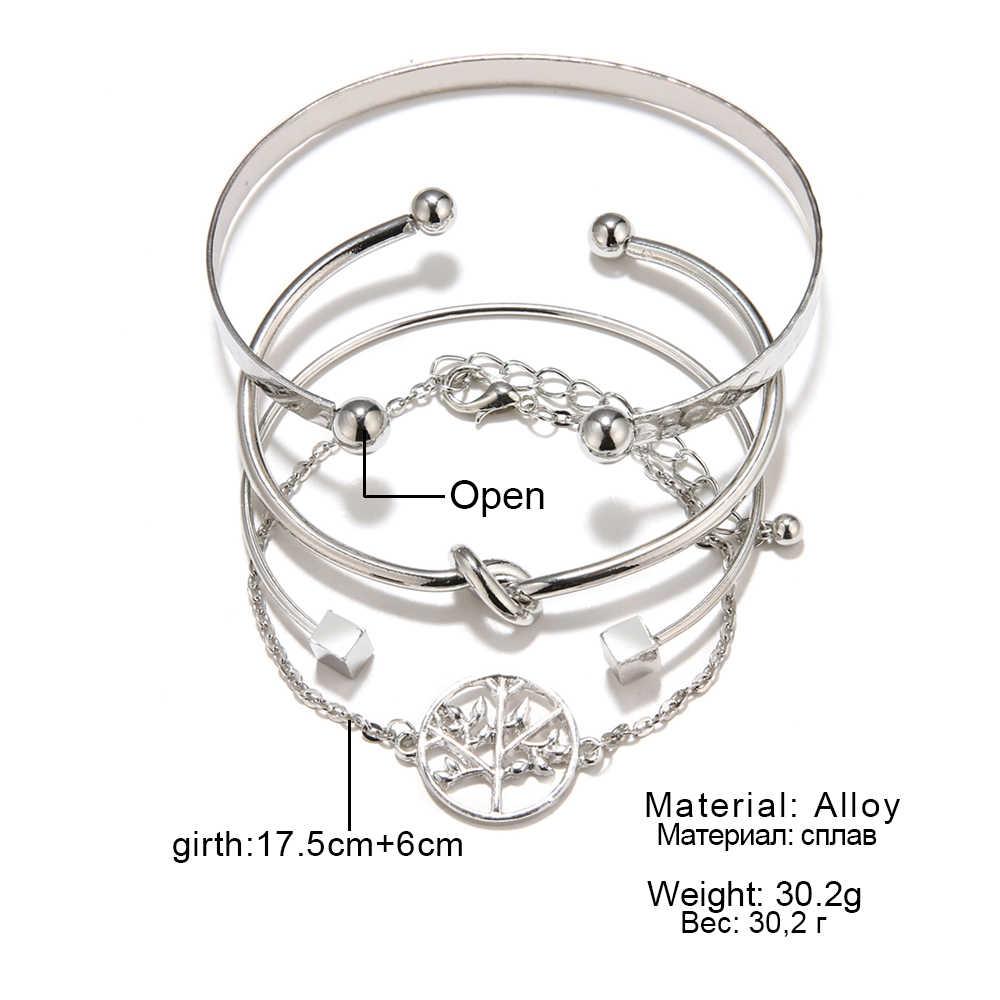 4 sztuk/zestaw klasyczne drzewo życia węzeł okrągły geometryczna bransoletka wielowarstwowe regulowane otwarta bransoletka zestaw dla kobiet moda biżuteria