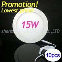 10 sztuk fabryka cała sprzedaż Ultra cienkie 15 W led panel light AC85-265V Ciepły/Natural/Zimne Białe LED oprawa Wpuszczana światła