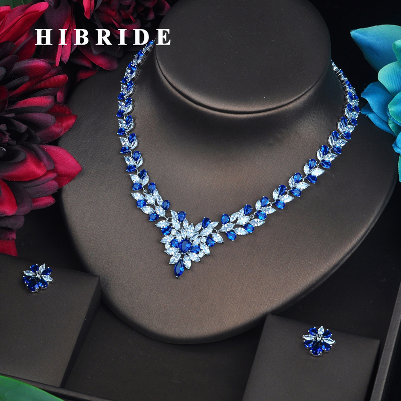 HIBRIDE Sparkling Marquise Cut Blue CZ Dubai Jewelry Sets For Women Necklace Set Wedding Dress Accessories Party Show Gift N-478HIBRIDE Sparkling Marquise Cut Blue CZ Dubai Jewelry Sets For Women Necklace Set Wedding Dress Accessories Party Show Gift N-478