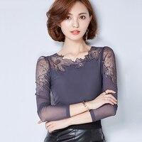 Chemise Femme Plus Size Lace Blouse Chiffon Shirt Women Tops Long Sleeve Women Blouses Blusas Camisas