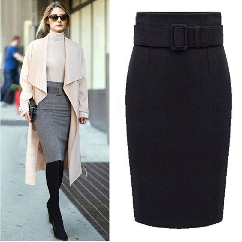 Image 3 - New Fashion Autumn Winter Style 2017 Cotton Plus Size High Waist Saias Femininas Casual Midi Pencil Skirt Women Skirts Female De-in Skirts from Women's Clothing