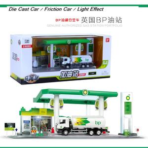 OIL STATION SET Authorized Gas Station Series With Car / Oil Tank British BP/TOTAL/SHELL/ALLES Friction Car And Lights Function(China)