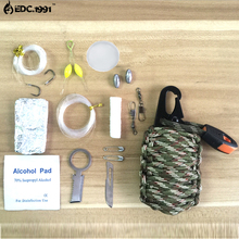 EDC Outdoor Multipurpose 2016 new 12 in 1 survival Paracord Rescue cord fishing tools,Carabiner Grenade Survival Kit