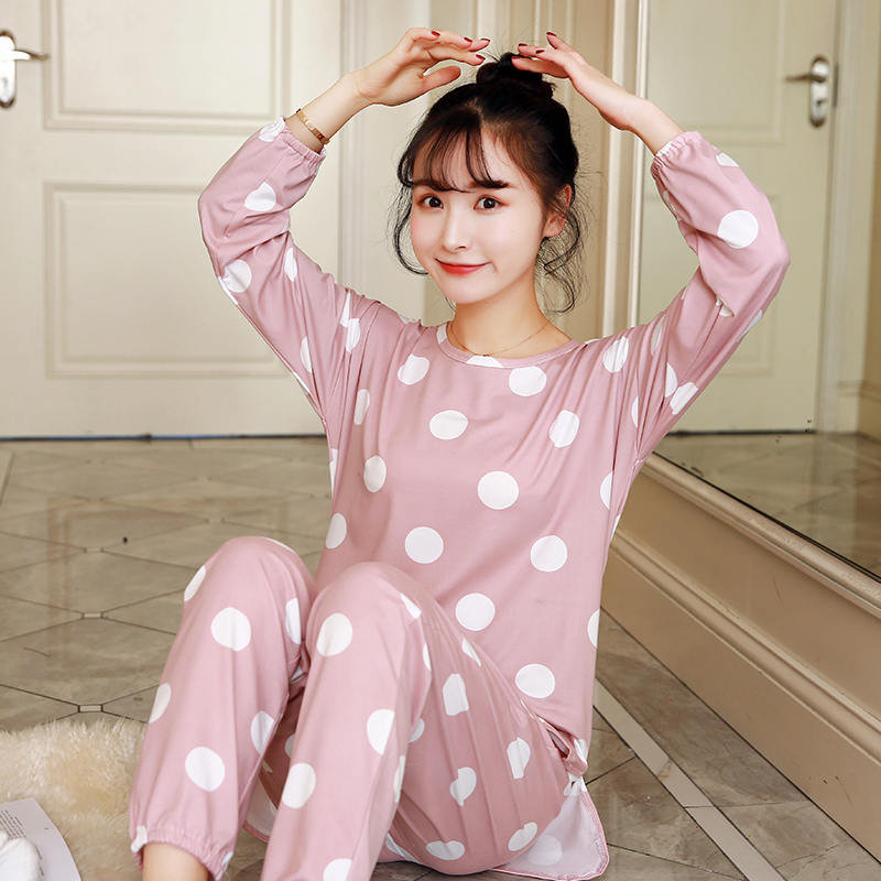 Spring Long Sleeved Pajamas Set For Women Nightgown Loose Sweet Girl Sleepwear Suit Autumn Two-Piece Student Casual Clothes