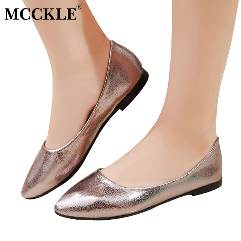 MCCKLE Female Fashion Flat Sexy Slip On Leather Loafers 2017 Ladies Spring Autumn Style Pointed Toe Office Comfortable Shoes new waterproof ip camera 720p cctv security dome camera video capture surveillance hd onvif cctv infrared ir camera outdoor