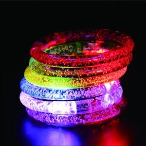 Image 3 - 50 pçs/lote led traje colorido led light up pulseira piscando acrílico brilhante pulseira brinquedos rave neon/led festa decoração suprimentos