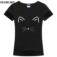 TEEHEART Cute Meow Cat Face Print Women Cotton T Shirt Shirt Top Tee Black Brand Plus