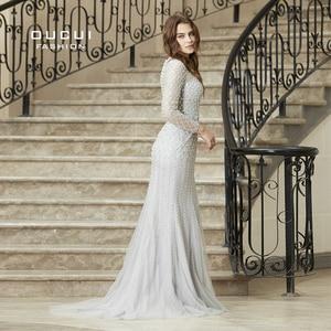 Image 3 - Real Photos Crystal Mermaid Long Sleeve Hand Made Illusion Full  Beading Long Evening Dress Close Back Luxury  OL103064B