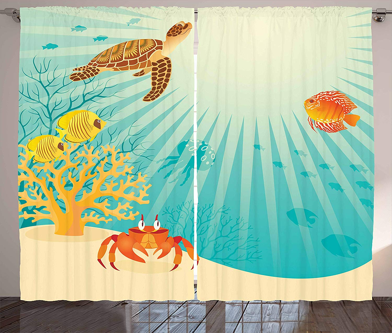 Marine Curtains Tropical Fishes Crab Loggerhead Sea Turtle Oceanic Sun Reflecting Beach Cartoon Living Room Bedroom Window