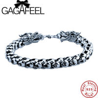 GAGAFEEL Genuine 100 Real Pure 925 Sterling Silver Thick Men Bracelet Dragon Scale Bracelet Free Shipping