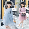 Kids girls spring / autumn crochet lace dress 2017 new fashion sweet baby girls clothing dress 4/5/6/7/8/9/10/11/12/13/14