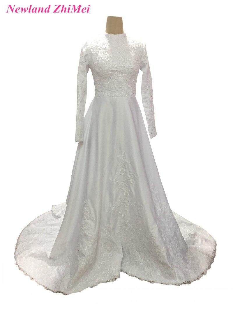 Great Design Muslim font b Wedding b font Dresses 2017 Long Sleeve High Neck Appliqued Satin
