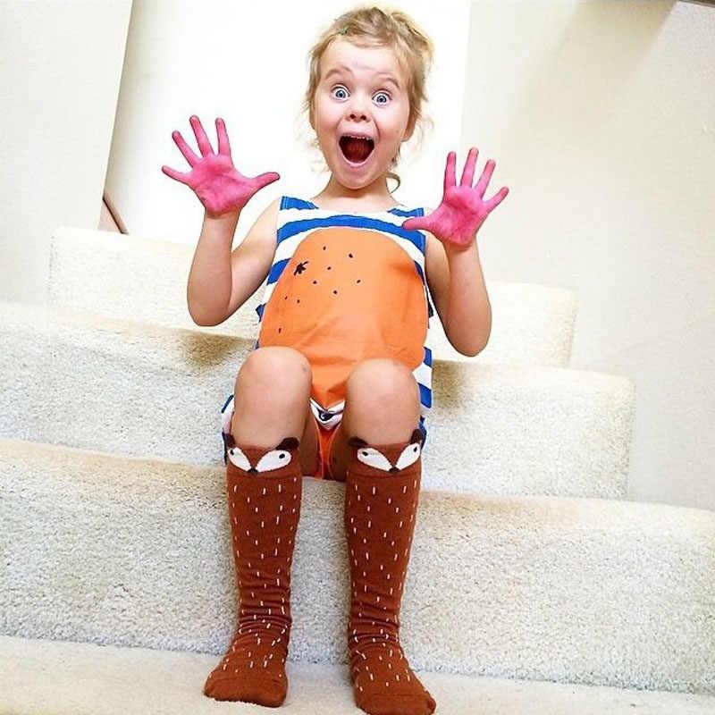높은 품질 사랑스러운 3d 여우 아기 양말 다리 따뜻하게 아이 양말 소년 소녀 양말 안티 슬립 코 튼 패션 동물 소녀 무릎 높은 양말