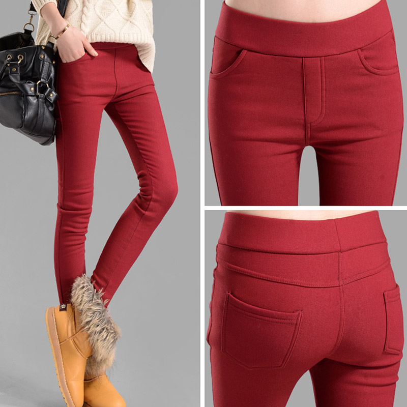 women   pants     capris   pencil   pants   fleece warm casual   pants   trousers elastic Winter velvet thick leggings dropshipping