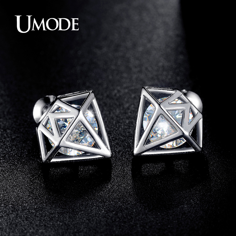 UMODE AAA+ Cubic Zirconia Rose Gold Color Post Stud Earrings Best Gifts