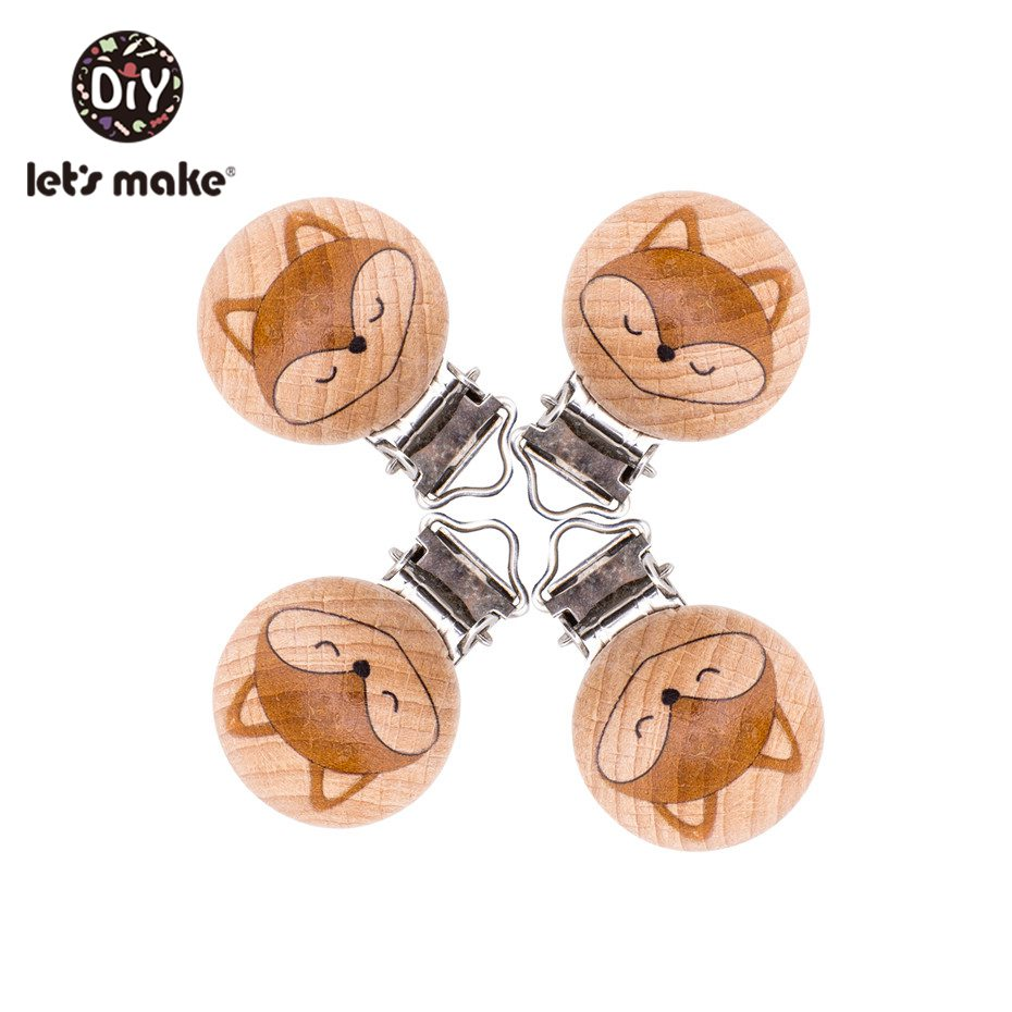 Let'S Make 10Pc Engraved Fox Wooden Pacifier Clip Wood Teether Diy Accessories For Nipple Holder Baby Teether Dummy Clips Chain