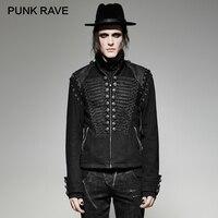 Панк рейв стимпанк Военная Униформа Мужская короткая куртка черная Прочная Джинсовая ткань Съемная рукава Короткая куртка Ретро рок одежд