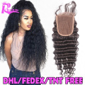 7A Brazilian Deep Wave Closure virgin Brazilian 4X4 Top Deep Wave Lace Closure Bleached Knots Free Middle Or 3 Part Free Ship