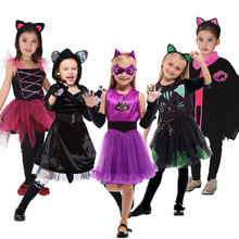 Umorden Cutie Purple Black Cat Kitten Kitty Costumes for Girls Child Fancy Halloween Carnival Party New Year Dress Up