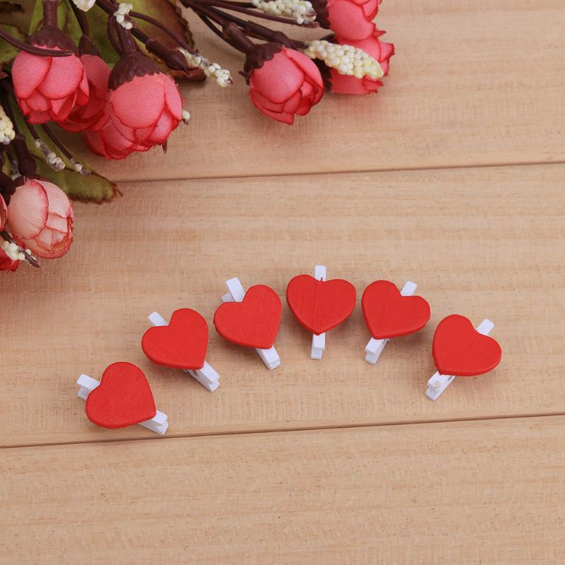 50pcs/pack Mini Heart Love Wooden Clothes Photo Paper Peg Pin Clothespin Craft Postcard Clips Home Wedding Gifts Decor Supplies
