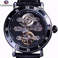 Forsining турбийон скрывать дизайнер Водонепроницаемый Пояса из натуральной кожи мужские часы лучший бренд роскошные механические часы