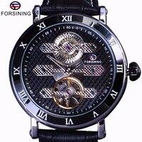 Forsining Tourbillion Obscure Designer Wasserdicht Echtem Leder Herrenuhr Top-marke Luxus Mechanische Automatische Uhr
