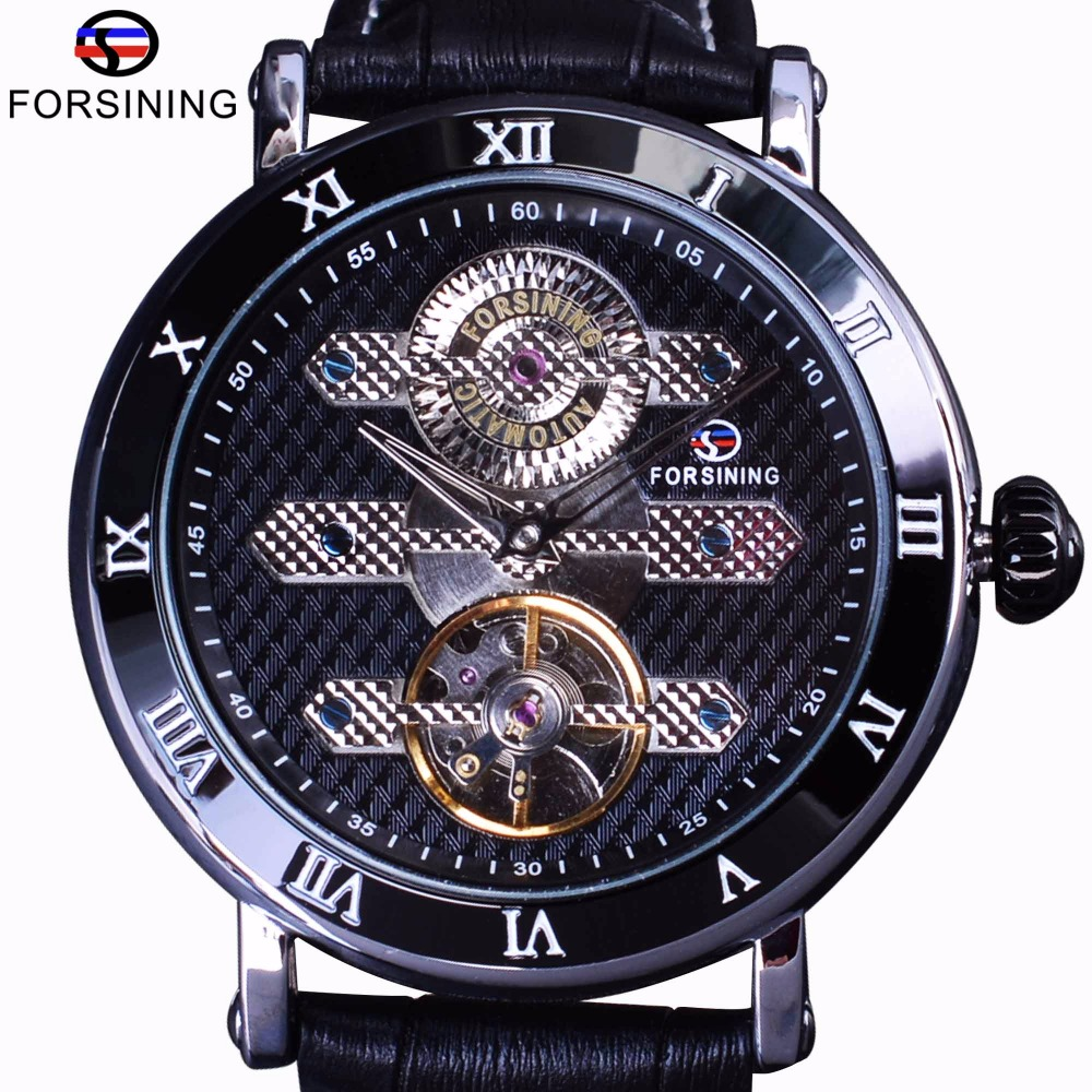 Forsining Tourbillion Obscure Designer Waterproof Genuine Leather Mens Watch Top Brand Luxury Mechanical Automatic Watch Clock цена