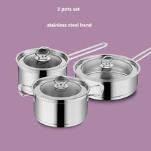 FREE SHIPPING  CASSEROLE INOX COOKWARE SET  COOKING PANS AND POTS 3 COMBINATION