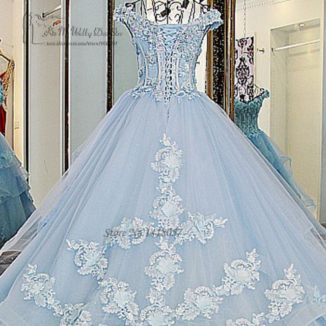 Online Shop Vestido de Noiva Princesa Luxo Vintage Light Blue ...