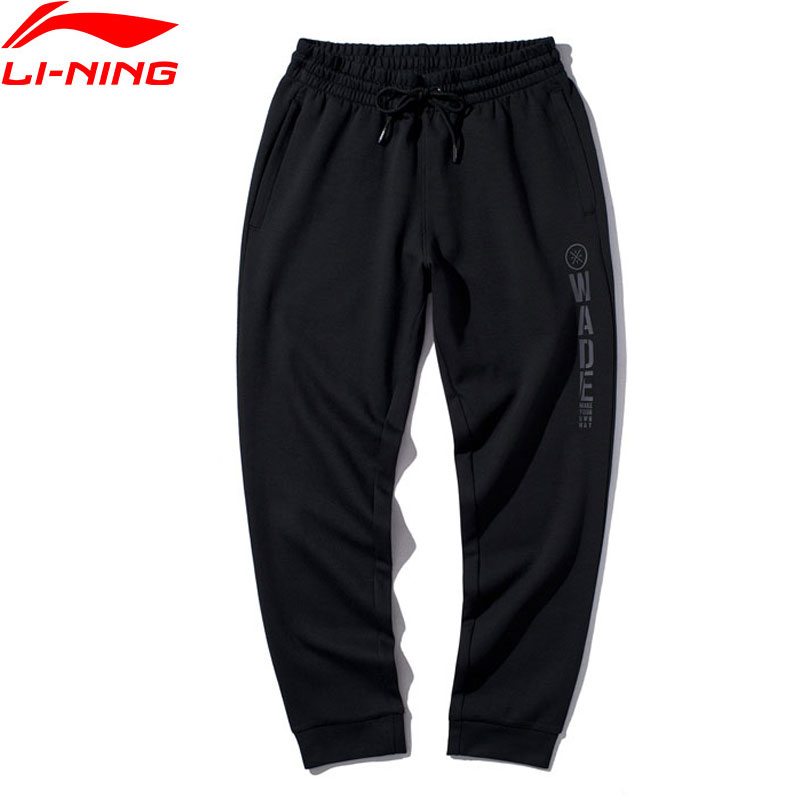 Li-Ning Men Wade Series Sweat Pants 82% Cotton 18% Polyester Trousers Regular Fit LiNing Comfort Sports Pants AKLP435 JAS19(China)