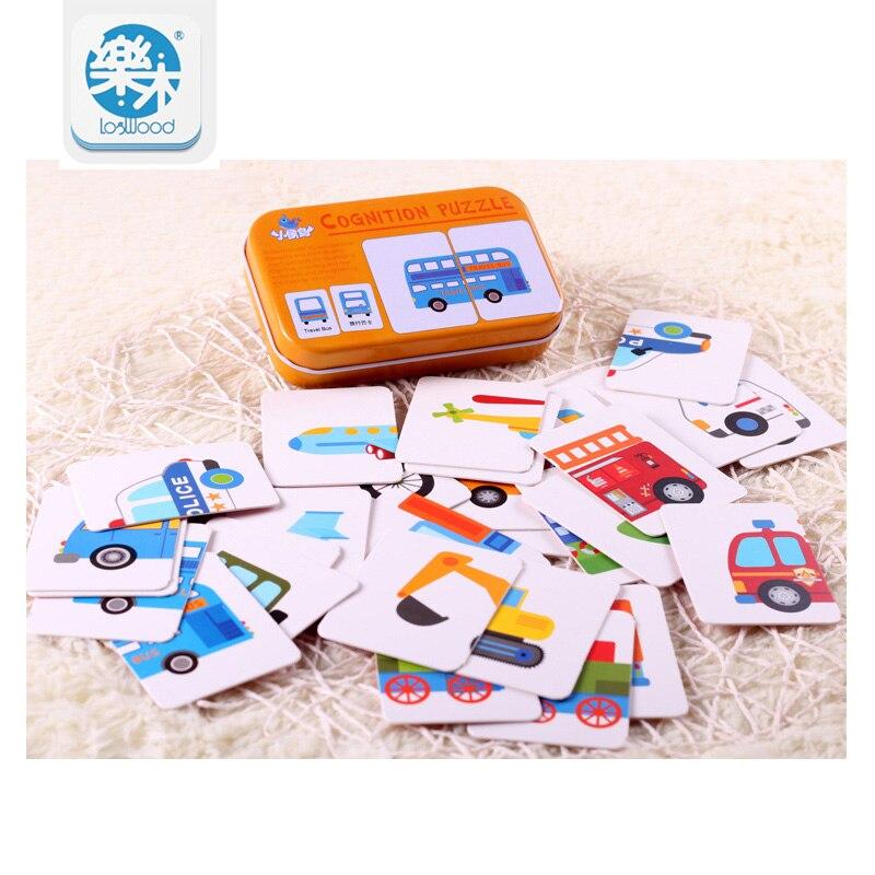 Iron-box Match Game Puzzle Card Learning Chinese English Fruit Animal Traffic Educational Kids Toys oyuncak