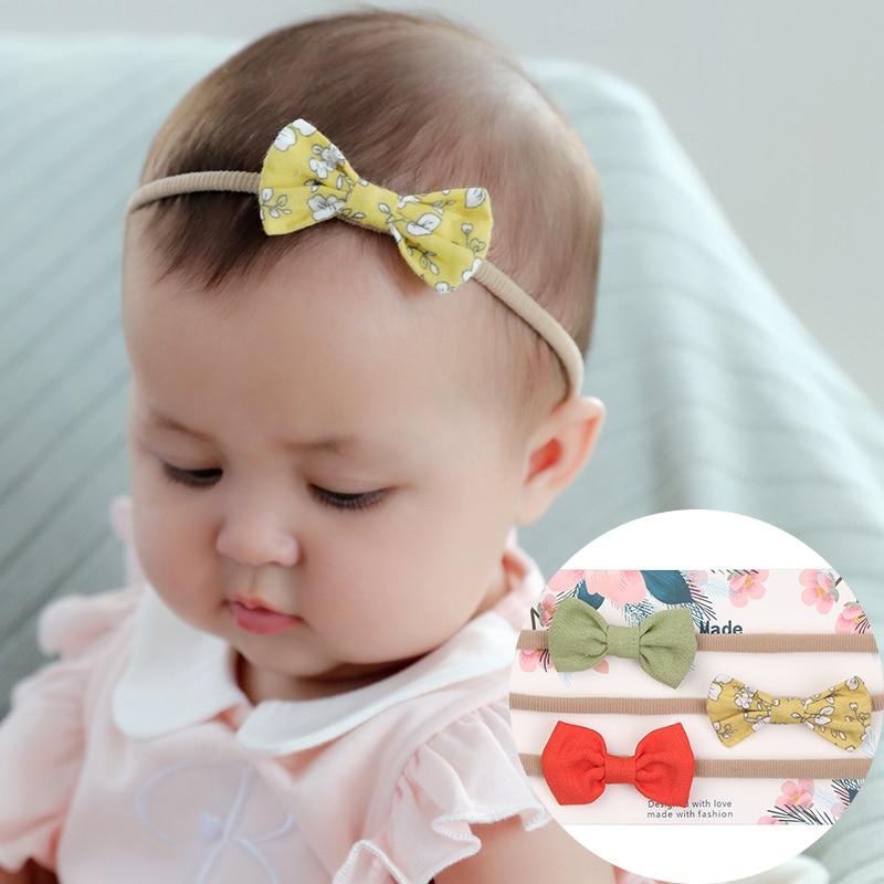 3x Newborn Headband Cotton Elastic Baby Print Floral Hair Band Girls Bow-knot DE